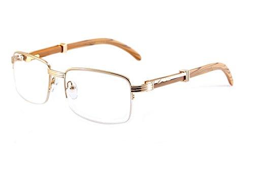less Clear Lens Metal & Wood Feel Eyeglasses UV 400 Protection A074 (Gold/ Beige Brown) (Wood Lens)