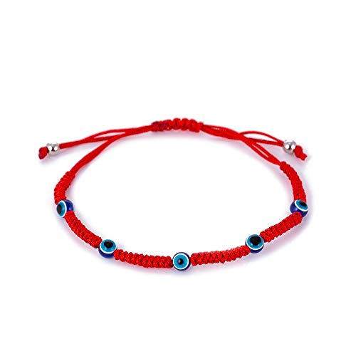 Red String Kabbalah Evil Eye Charm Bracelets for Protection and Luck Adjustable Hand-Woven Red Cord Thread Friendship Bracelet Amulet Baby Jewelry (C Style)