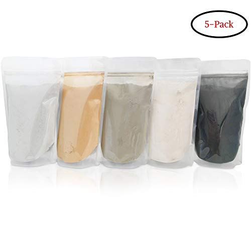 Bentonite (Indian Healing), Moroccan (Red), French (Green), Kaolin (White), Activated Charcoal/Bentonite Clay Powders - 5 multi pak/set for making mud masks for skin, hair, face/facial and body