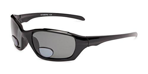 Readers.com The Bridgewater Polarized Bifocal Sun Reader +2.00 Glossy Black with Smoke Wraparound Bifocal Reading Sunglasses Sport & Wrap-Around Reading - Choosing Sunglasses