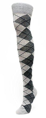Sexy School Girl Argyle Thigh High Socks (Grey)