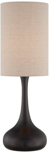 "Modern Table Lamp Espresso Bronze Metal Droplet Linen Cylinder Shade for Living Room Family Bedroom Bedside Office - 360 Lighting - 24 1/2"" high overall. Base is 7 1/4"" wide. Shade is 12"" high x 8"" wide. Weighs 3.3 lbs. Uses one maximum 100 watt standard-medium base bulb (not included). On-off switch located on the socket. Modern droplet table lamp from 360 Lighting. Sleek Mid-Century styling. - lamps, bedroom-decor, bedroom - 31hJyDYtdML -"