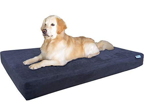Beds Dog Diva - Dogbed4less Premium Orthopedic Memory Foam Dog Bed for Large Dogs, Waterproof Case and Extra Pet Bed Cover, XXL Cooling 55X37X4 Pad, Espresso
