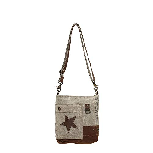 Myra Bag Leather Star Upcycled Canvas Medium Corssbody Bag M-0898