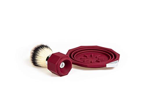 Travel Shaving Brush, Shaving Bowl, and Shaving Cream (Aubergine)