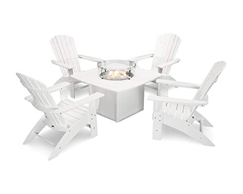 POLYWOOD Nautical Curveback Adirondack 5-Piece Conversation Set with Fire Table in White