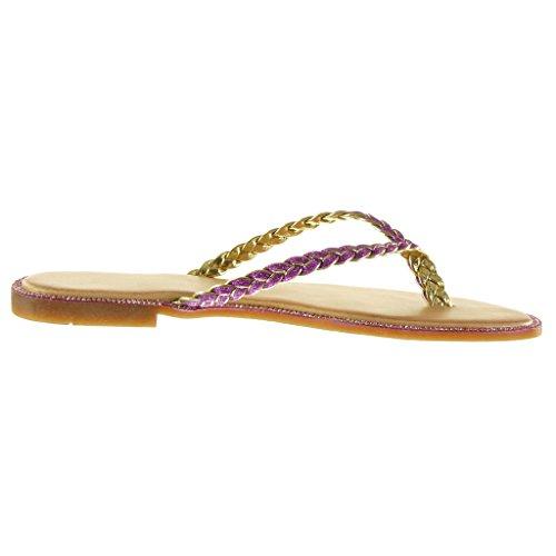 Intrecciato Moda Sandali 1 Donna Lucide Fushia Blocco Cm Angkorly Tacco Scarpe A Infradito 5 gqnaxHY