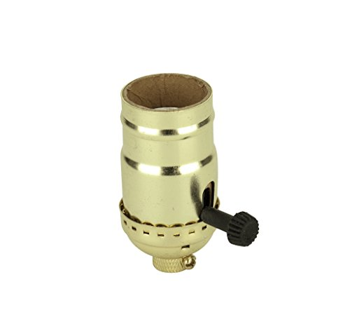 Aspen Creative 21301 3-Way Lamp Socket with Turn Knob Switch in Polished Brass