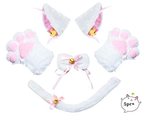 Beelittle Cat Cosplay Costume Kitten Ears Tail Collar Paws 5 Pack (Glitter Cat Collar)