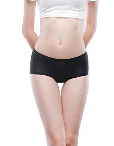 Las mujeres período menstrual Briefs Jacquard fácil Limpiar Panties 3-Pack Tamaño 36-44 Rojo, negro,lotus