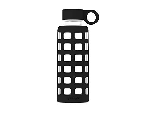 purifyou Premium Glass Water Bottle with Silicone Sleeve and Stainless Steel Lid, 32/22 / 12 oz (Jet Black, 22 ()