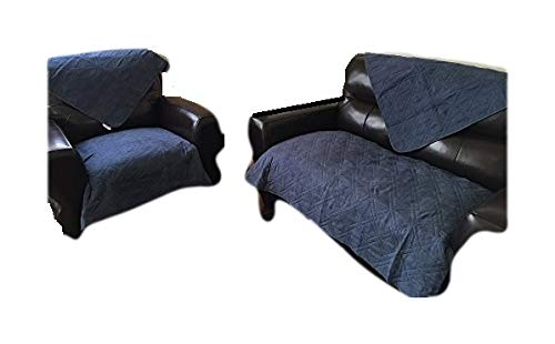 Quilted Navy Blue Micro Suede Custom Sectional Sofa Throw Pads Furniture Protector Sold Separately by Size - Peat Chair Microfiber