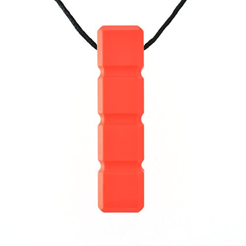 Quell-O Quad-Blockz Chewelry Necklace For Mild Chewers - Oral Sensory Aid for Boys and Girls - Tough, Red by Quell-O