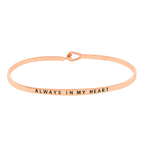 Rosemarie Collections Women's Thin Hook Bangle Bracelet Always In My Heart (Rose Gold) - Heart Hook Bracelet