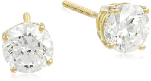 (IGI Certified 18k Yellow Gold, Round-Cut, Diamond 4-Prong Studs (2 cttw, H-I Color, SI1-SI2 Clarity) )