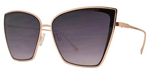 Fashion Eyelinks - Modern Metal Boxed Cat Eye Sunglasses (Black Frame + Smoke - Modern Sunglasses Eye Cat