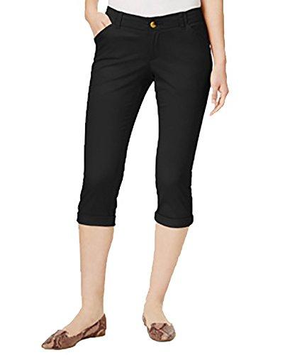 omens Petites Cropped Mid-Rise Chino Pants Black 6P ()