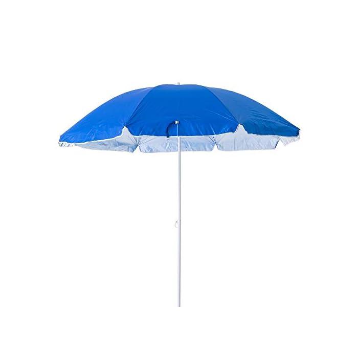 31hK452i%2BXL Esta sombrilla está hecha de protección UV y poliéster antidecoloración que es perfecta para bloquear los dañinos rayos UV del sol. Es inclinable, regulable en altura y plegable. Una propuesta novedosa, práctica y funcional para disfrutar de laplayay el sol, que te garantiza una buena sombra.