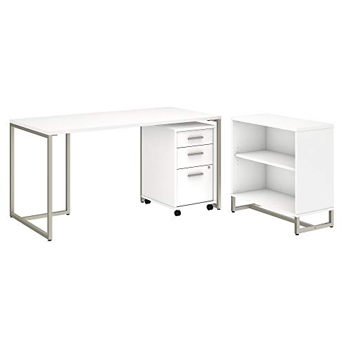 Office by kathy ireland Method 60W Table Desk with Bookcase and Mobile File Cabinet in White