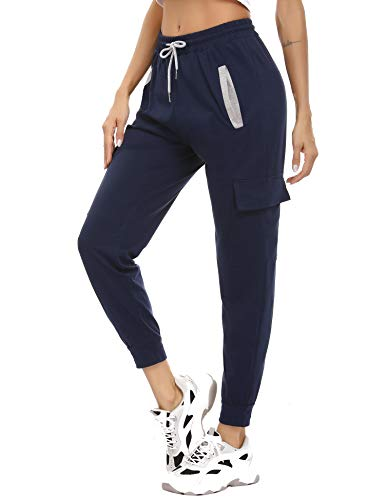 Akalnny Joggingbroek voor dames, 100% katoen, trainingsbroek, sweatpants met zakken, joggingbroek voor hardlopen, gym…