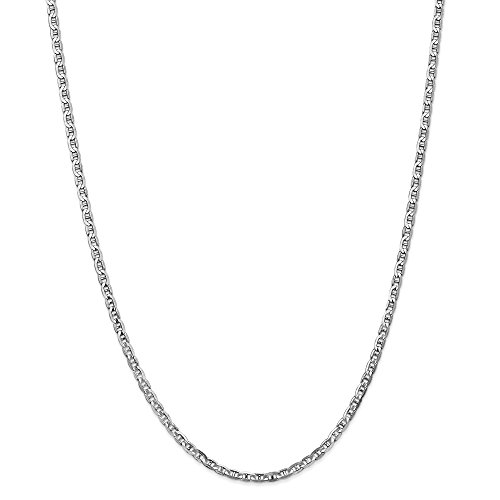 14k White Gold 3mm Concave Link Anchor Chain Necklace 20 Inch Pendant Charm Fine Jewelry Gifts For Women For ()