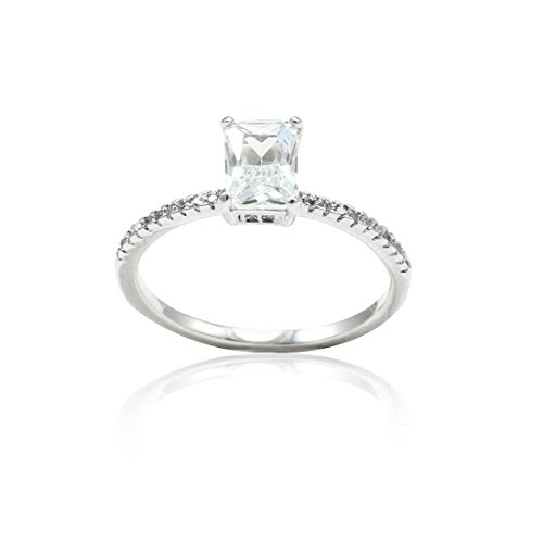 Solitaire Accent Wedding Engagement Ring Radiant Clear Simulated Round CZ 925 Sterling (Radiant Solitaire Ring)