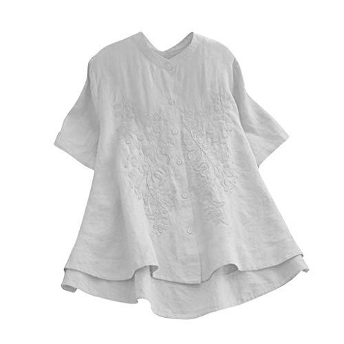 - Women's Linen Tunic Blouse t-Shirt, Short Sleeve Asymmetrical Shirt Top Button Down Embroidery Swing Tee Shirts(White, S)