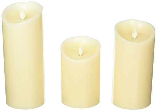Set of 3 Luminara Flameless Candles 3.5x5 3.5x7 3.5x9 Ivory Moving Flame Candles with Timers and Remote Control