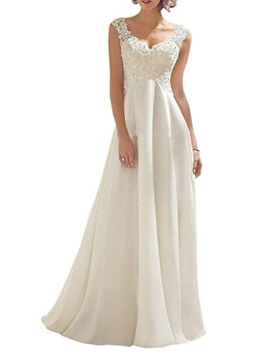 (Abaowedding Women's Wedding Dress Lace Double V-Neck Sleeveless Evening Dress Ivory US 24 Plus)