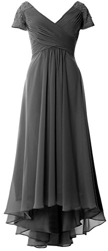 MACloth Women Cap Sleeve Formal Evening Gown V Neck Hi-Lo Mother of Bride Dress (US16w, Gray)