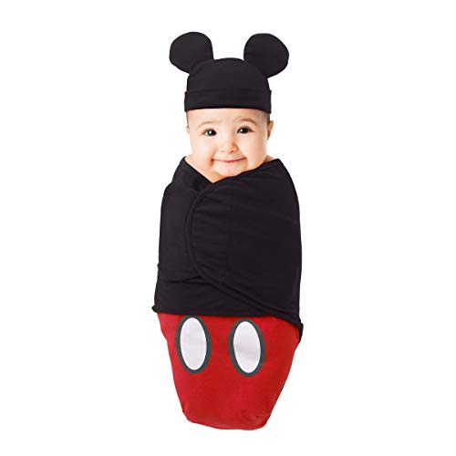 Mickey Mouse 100% Cotton Knit Fitted Swaddle Baby Blanket with Mickey Ears Beanie, Red/Black/White, 0-4 Months]()
