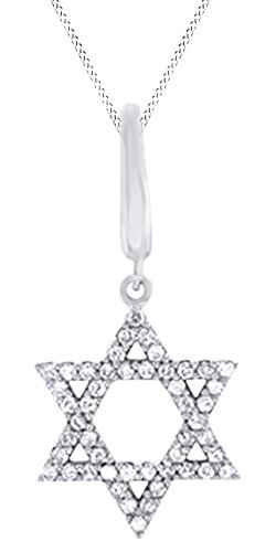 AFFY Round Cut White Natural Diamond Star of David Pendant Necklace in 14k White Gold (0.2 Cttw)