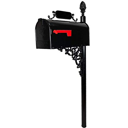 ADDRESSES OF DISTINCTION Oak Standard Mailbox & Post Kit - Black Mailbox System - Includes Address Plaque, Numbers & Mounting Hardware - Rust Resistant Metal Mailbox with Pineapple Finial