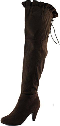 Donna Sopra Il Ginocchio Alta Allacciatura Posteriore Faux Suede Grosso Tacco Alto Slouch Alto Stivali Moda Scarpe Marroni
