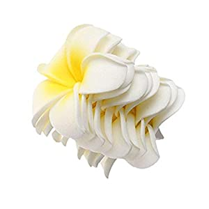 20 Pcs DIY Artificial Plumeria Hawaiian PE Foam Flower for Wedding Party Home Decoration White Yellow (3.5 Inch) 111