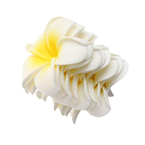 20 Pcs DIY Artificial Plumeria Hawaiian PE Foam Flower for Wedding Party Home Decoration White Yellow (3.5 Inch)