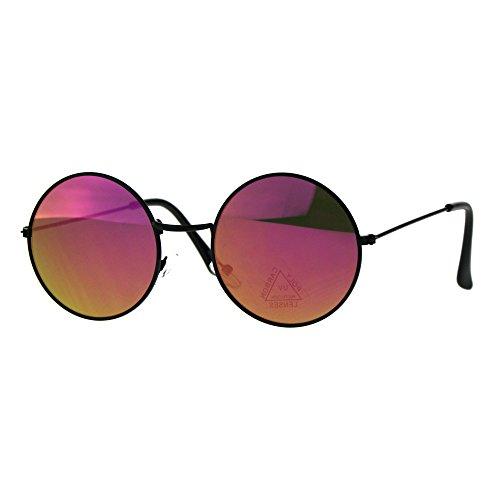 Color Mirror Lens Metal Rim Round Circle Hippie Groovy Sunglasses Black - Sunglasses Circle Reflective