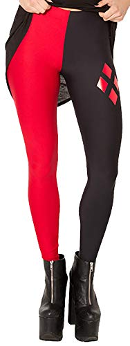 Sister Amy Women's High Waist Red Black World Digital Printted Ankle Elastic Tights Legging