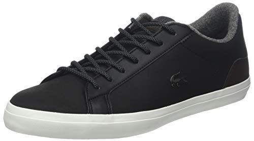 Lacoste Men Lerond 318 2 CAM Leather Trainers, Green Black-Brown
