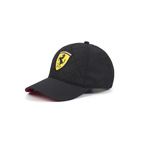 Ferrari Black Quilt Stitch Hat Cap Formula 1, Black, Adjustable, OSFA