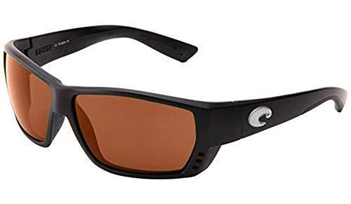 Costa Del Mar Tuna Alley Sunglasses, Matte Black/Copper 580 Plastic Lens Copper Lens Matte Black Frame