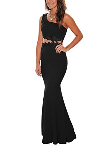 Formal Prom Evening Dress (MISFONDLE Women's Elegant Lace Hollow Out Maxi Long Prom Dress Formal Evening Gown Black)