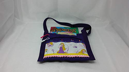 AN ORIGINAL/Purple Quilted Adjustable Crayon Carrier for over the Shoulder or Carrying by Hand/Rapunzel/Includes 8 Crayons 1 Coloring Book and 1 Story Time Book/Makes a nice Birthday Gift ()