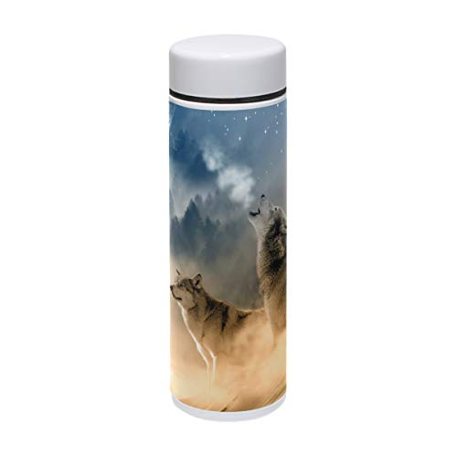 LORVIES Wolves Howling Moon Stars Stainless Steel Thermos Water Bottle Insulated Vacuum Cup Leak Proof Double Vacuum Bottle for Hot and Cold Drinks Coffee or Tea, Travel Thermal Mug,220 ml/ 7.5oz -