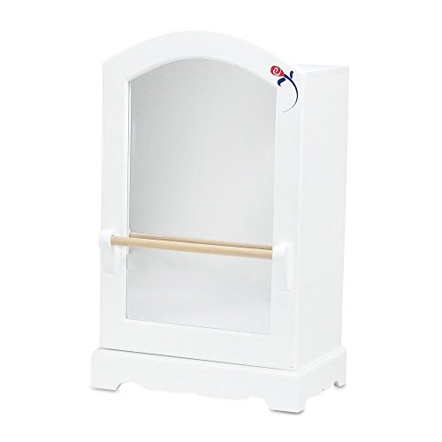 18 Inch Doll Furniture | Doll Clothes & Dresses Armoire Storage Closet with Mirror and Ballet Barre, Includes 5 Notched Hangers | Fits American Girl Dolls