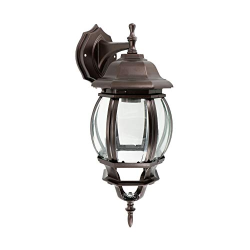 (IN HOME One-Light Outdoor Wall Down Lantern Fixture, Bronze Finish Cast Aluminum Housing with Clear Glass Shade, Waterproof Exterior Wall Lamp Light for Front Porch, Yard, Garage, ETL Listed )