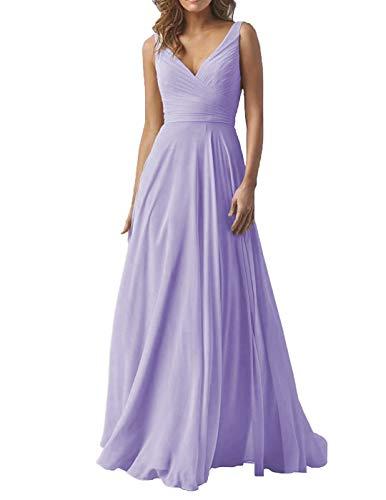 A-line Formal Dress - Lilac Double V Neck Wedding Evening Dresses Long A-Line Chiffon Bridesmaid Formal Dress Lilac