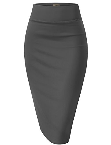 (Womens Pencil Skirt for Office Wear KSK43584X 1139 Charcoal 2X)