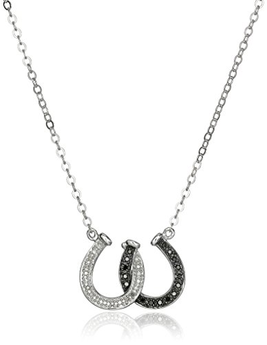 Sterling Silver Black and White Diamond Double Horseshoe ...