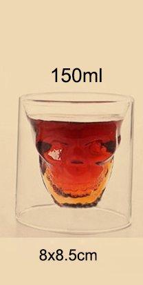 Blue Stones Creative Skull Shot Glass Beer Cup Double Layer Transparent Wine Whiskey Cup Drinkware Milk Juice Mug (Stones Glass Milk)